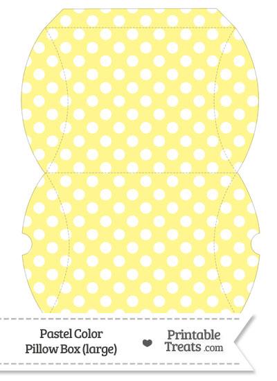 Large Pastel Yellow Polka Dot Pillow Box from PrintableTreats.com
