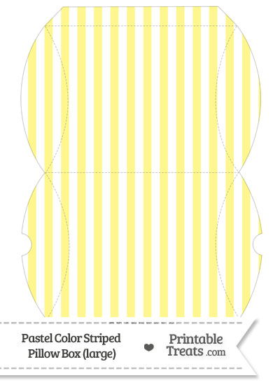 Large Pastel Yellow Striped Pillow Box from PrintableTreats.com