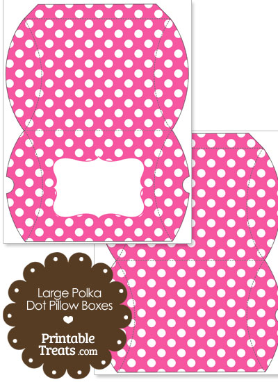Large Pink and White Polka Dot Pillow Box from PrintableTreats.com