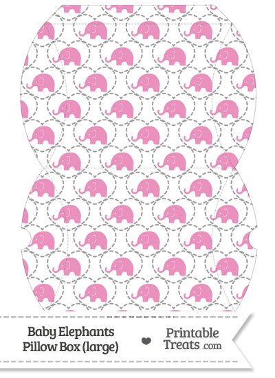 Large Pink Baby Elephants Pillow Box from PrintableTreats.com