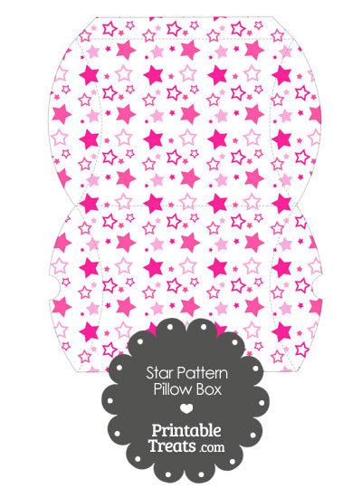 Large Pink Star Pattern Pillow Box from PrintableTreats.com