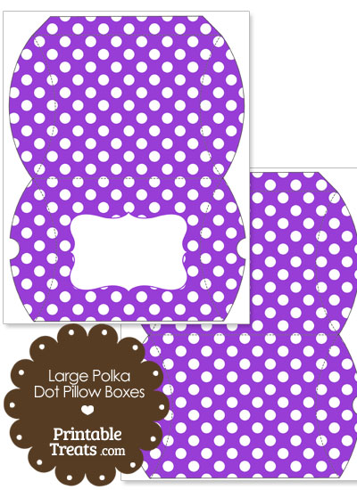 Large Purple and White Polka Dot Pillow Box from PrintableTreats.com