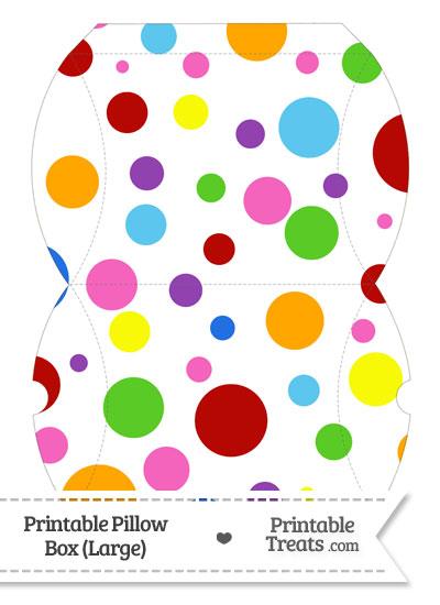 Large Rainbow Dots Pillow Box from PrintableTreats.com