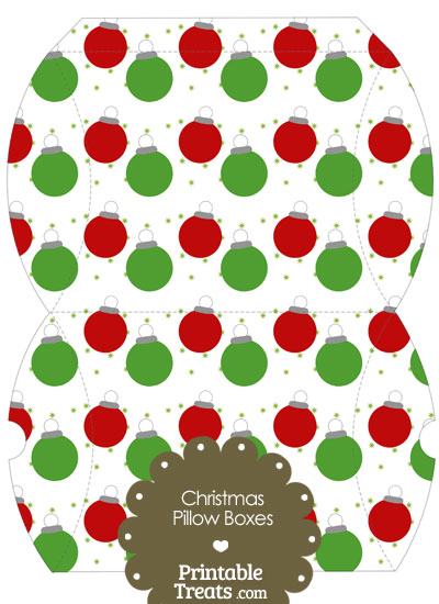 Large Red and Green Christmas Ornaments Pillow Box from PrintableTreats.com