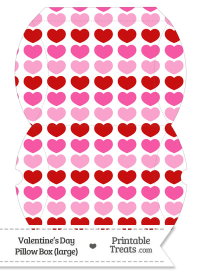 Large Red and Pink Hearts Pillow Box from PrintableTreats.com