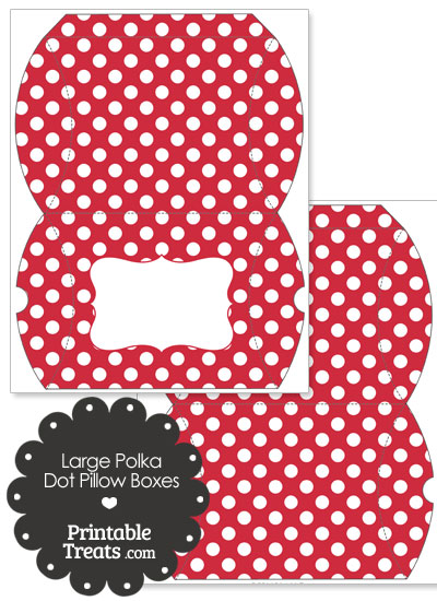 Large Red and White Polka Dot Pillow Box from PrintableTreats.com