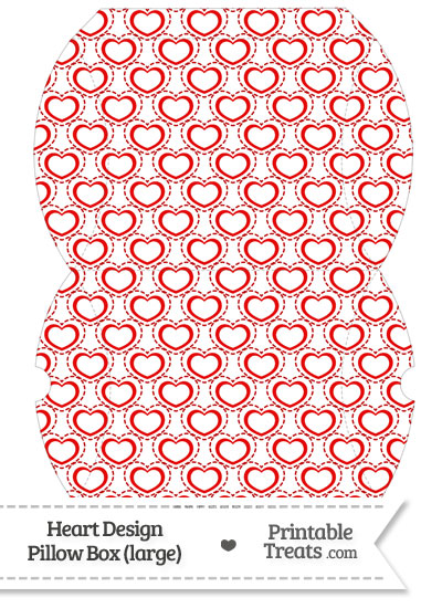 Large Red Heart Design Pillow Box from PrintableTreats.com