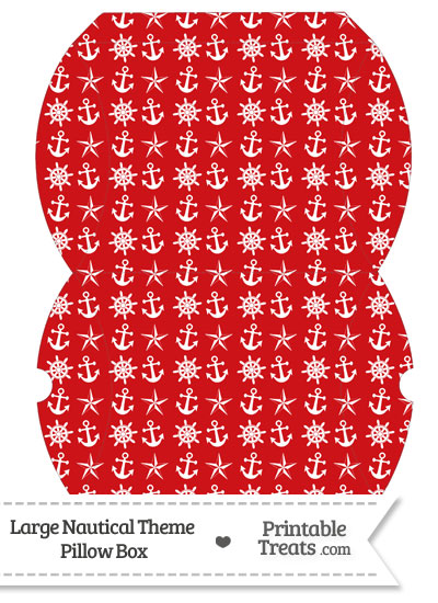 Large Red Nautical Pillow Box from PrintableTreats.com