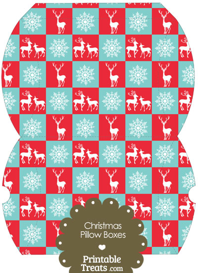 Large Reindeer and Snowflakes Pillow Box from PrintableTreats.com