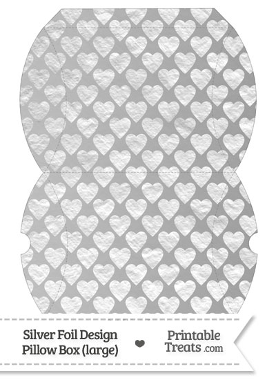 Large Silver Foil Hearts Pillow Box from PrintableTreats.com