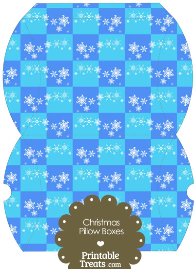 Large Snowflake Checkered Pillow Box from PrintableTreats.com
