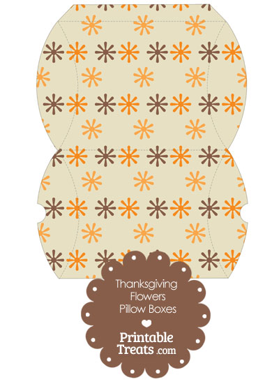 Large Thanksgiving Flowers Pillow Box from PrintableTreats.com