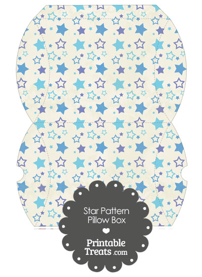 Large Vintage Blue Star Pattern Pillow Box from PrintableTreats.com