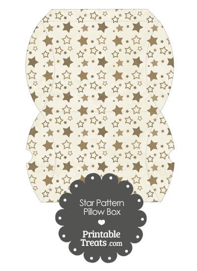 Large Vintage Brown Star Pattern Pillow Box from PrintableTreats.com
