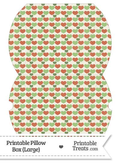 Large Vintage Christmas Hearts Pillow Box from PrintableTreats.com