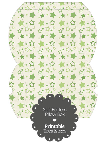 Large Vintage Green Star Pattern Pillow Box from PrintableTreats.com