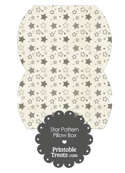 Large Vintage Grey Star Pattern Pillow Box from PrintableTreats.com