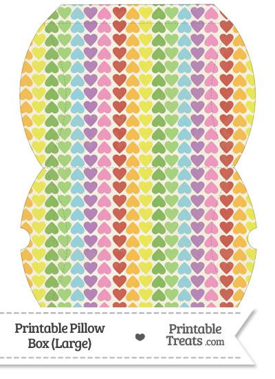 Large Vintage Rainbow Hearts Pillow Box from PrintableTreats.com