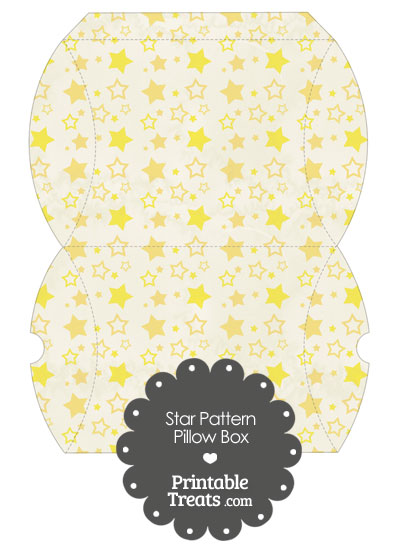 Large Vintage Yellow Star Pattern Pillow Box from PrintableTreats.com