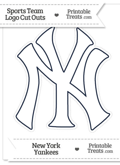 Large White New York Yankees Logo Cut Out from PrintableTreats.com