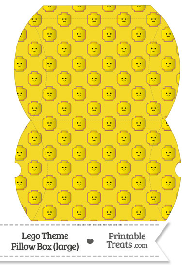 Large Yellow Lego Theme Pillow Box from PrintableTreats.com