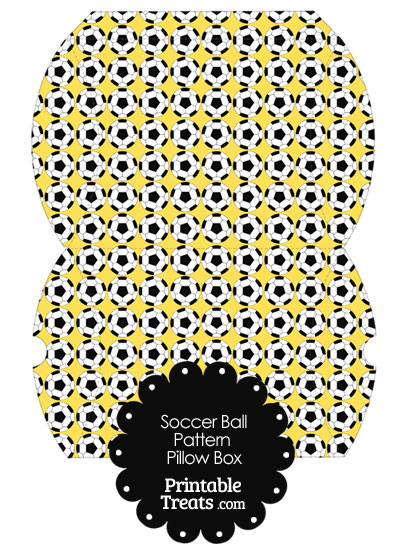 Large Yellow Soccer Ball Pattern Pillow Box from PrintableTreats.com