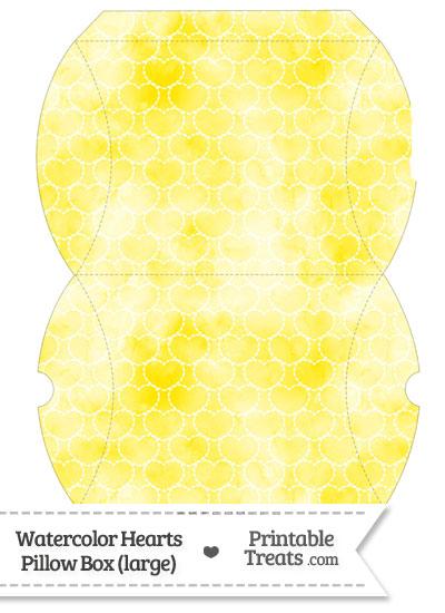 Large Yellow Watercolor Hearts Pillow Box from PrintableTreats.com