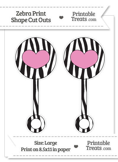 Large Zebra Print Baby Rattle Cut Outs from PrintableTreats.com
