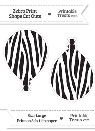 Large Zebra Print Balloon Cut Outs from PrintableTreats.com