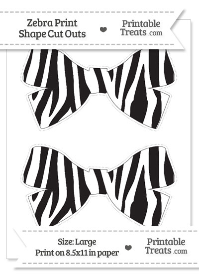 Large Zebra Print Bow Cut Outs from PrintableTreats.com