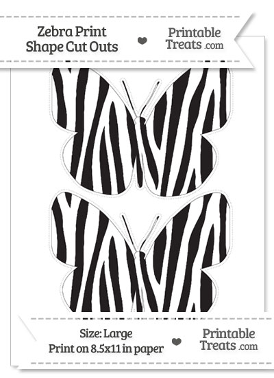 Large Zebra Print Butterfly Cut Outs from PrintableTreats.com