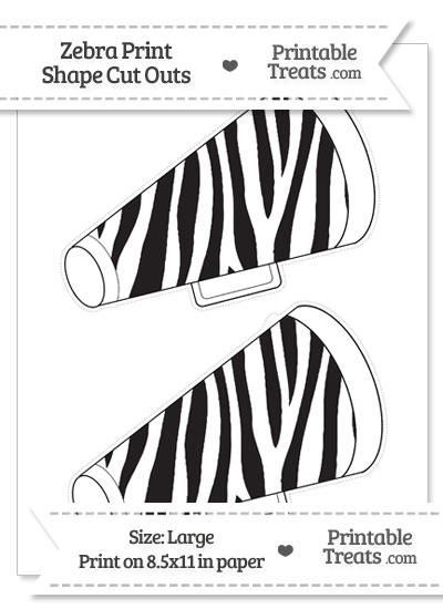 Large Zebra Print Cheer Megaphone Cut Outs from PrintableTreats.com