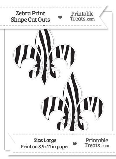 Large Zebra Print Fleur de Lis Cut Outs from PrintableTreats.com
