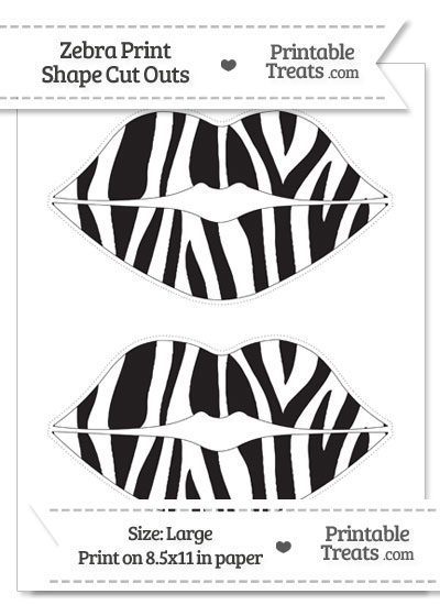 Large Zebra Print Lips Cut Outs from PrintableTreats.com