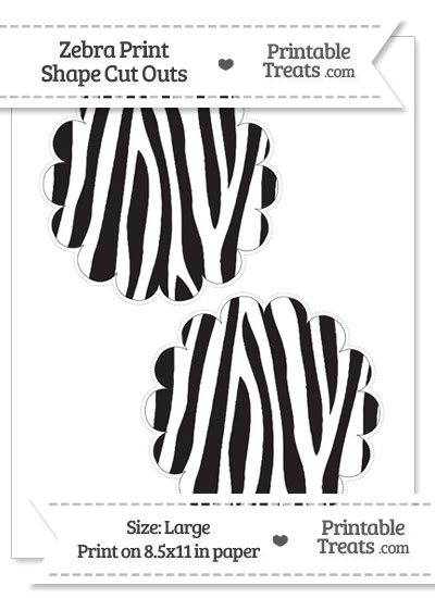 Large Zebra Print Scalloped Circle Cut Outs from PrintableTreats.com