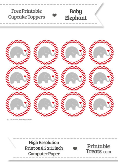 Lava Red Chevron Baby Elephant Cupcake Toppers from PrintableTreats.com
