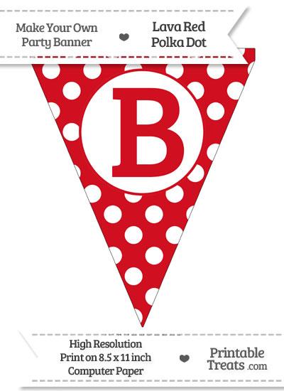 Lava Red Polka Dot Pennant Flag Capital Letter B from PrintableTreats.com