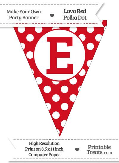 Lava Red Polka Dot Pennant Flag Capital Letter E from PrintableTreats.com