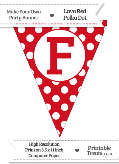 Lava Red Polka Dot Pennant Flag Capital Letter F from PrintableTreats.com