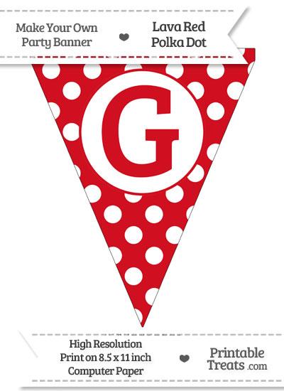 Lava Red Polka Dot Pennant Flag Capital Letter G from PrintableTreats.com