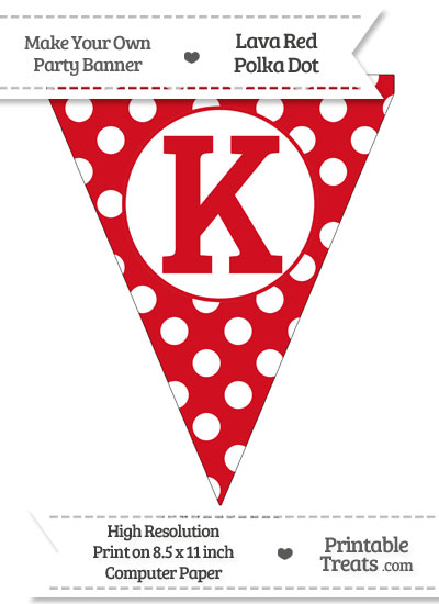 Lava Red Polka Dot Pennant Flag Capital Letter K from PrintableTreats.com