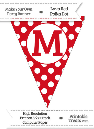 Lava Red Polka Dot Pennant Flag Capital Letter M from PrintableTreats.com
