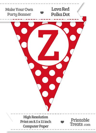 Lava Red Polka Dot Pennant Flag Capital Letter Z from PrintableTreats.com