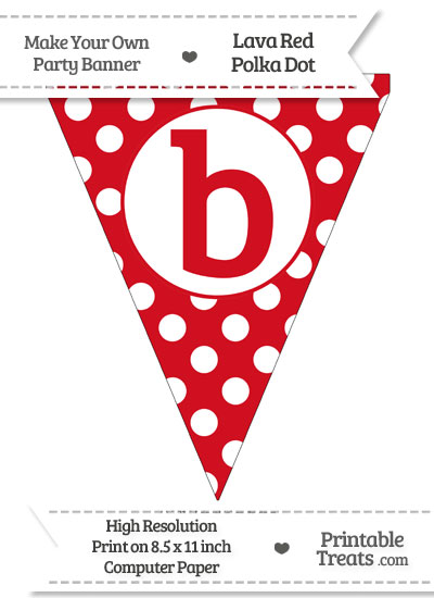 Lava Red Polka Dot Pennant Flag Lowercase Letter B from PrintableTreats.com