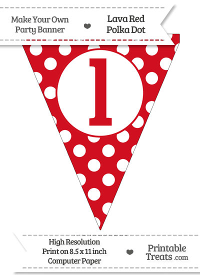 Lava Red Polka Dot Pennant Flag Lowercase Letter L from PrintableTreats.com