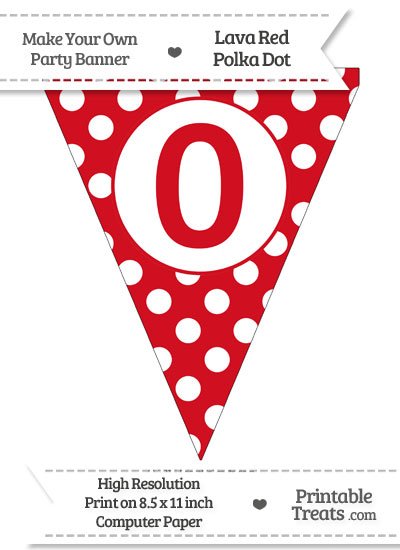 Lava Red Polka Dot Pennant Flag Number 0 from PrintableTreats.com
