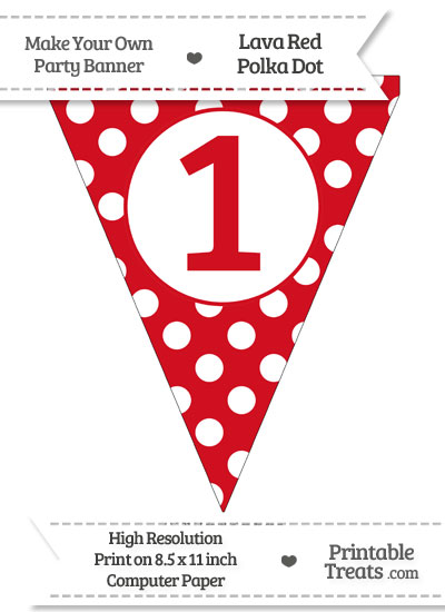 Lava Red Polka Dot Pennant Flag Number 1 from PrintableTreats.com