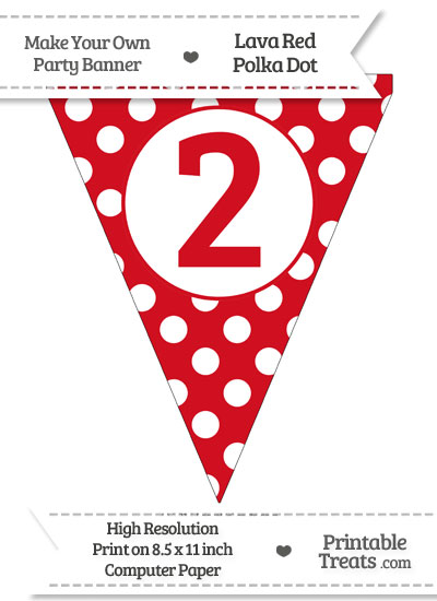 Lava Red Polka Dot Pennant Flag Number 2 from PrintableTreats.com