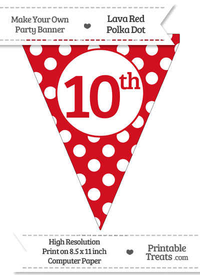 Lava Red Polka Dot Pennant Flag Ordinal Number 10th from PrintableTreats.com