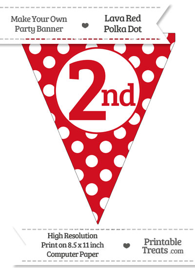 Lava Red Polka Dot Pennant Flag Ordinal Number 2nd from PrintableTreats.com